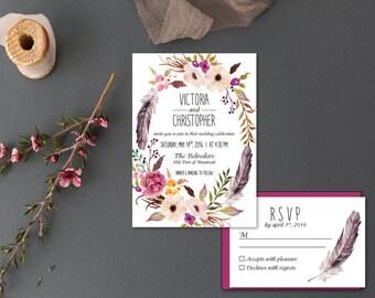 Printable Wedding Invitation Set   Invitation + RSVP    Flowers , feathers   Boho rustic wedding invitation   watercolor floral   Bohemian