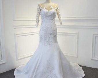 Mermaid Wedding Bridal Dress with Sweetheart Neckline Lace Satin Skirt Zipper Buttons Court Train
