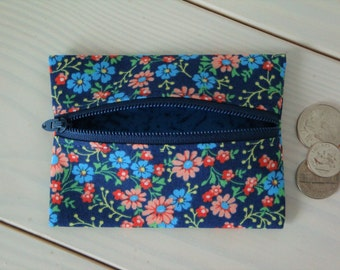 Blue, Pink Flower Zippered Coin Pouch, Change Purse, Gift for Her