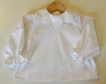 "Cotton blouse white, petal collar and buttons in mother-of-Pearl ""flower"" (LIBERTY to choose from for the collar if desired)"