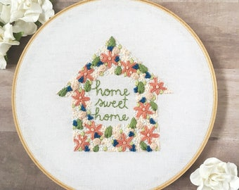 "housewarming gift. new home housewarming gift. home sweet home embroidery. first home gift. home decoration // Ready to Ship 7"" Hoop"