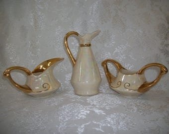 Lustre Cream Sugar and Cruet Set Gold Trimmed Vintage 1940's Lusterware Lustreware Luster Ware