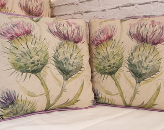 Voyage Thistle Piped Cushion Cover with Abraham Moon Kincraig Tartan Rose 40x40cm