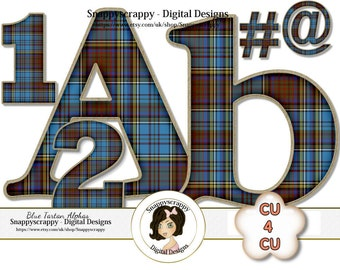 CU4CU, Tartan, Digital Alphas, Digital Allphabet, Blue Tartan Alphas, Scrapbook Alphas, Digital Alpha Set, Plaid Alphas, Commercial Use,