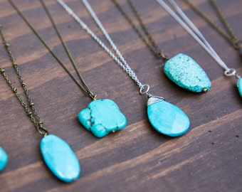 Long Turquoise Necklace, Aqua Pendant Necklace, Boho Bridesmaid Necklace, Long Silver Necklace, Teardrop Oval Faceted, Turquoise Boho