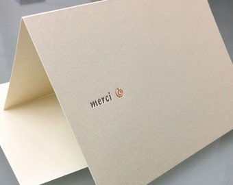 Merci/Thank You - Letterpress printed greeting cards A-2 package of 5