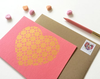 Love Card Set, Gold Heart, Deco Stars, Coral Pink Cards (Set of 6)