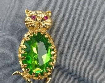 Vintage Green Rhinestone Cat Brooch