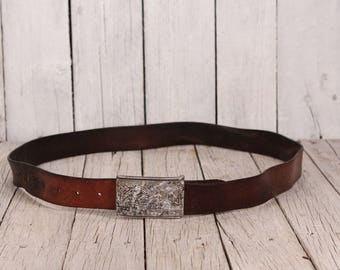 Leather belt - Vintage mens belt - Mens leather belt - Brown leather belt - Wide leather belt - Embossed leather belt - Distressed belt