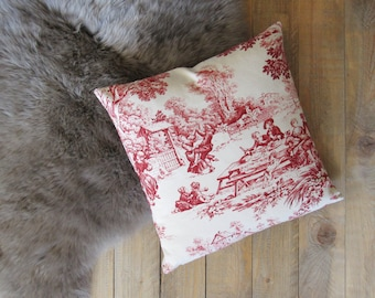pillowcase 40x40cm made of Toile de Jouy, french country style, country scene, cushion cover red pink creme, bedroom decoration, pure cotton