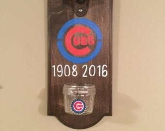 Chicago Cubs World Series Championship Rustic Wall-mounted Bottle Opener