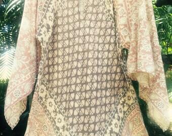 Vintage 70's Indian gauze maxi dress