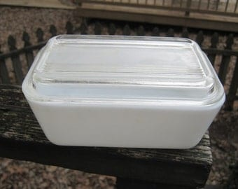 Milk Glass Refrigerator Dish, Glass Ribbed Top, 6 3/4 By 4 1/4 Inches, 3 1/2 Inched Deep With Lid, Kitchen Storage, Vintage Food Storage