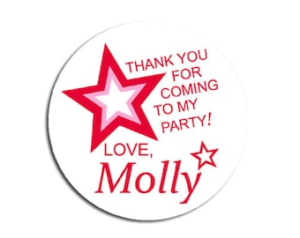 Doll Birthday Party, Doll Party Favor Stickers, Doll Party Favor Tags, Red Star Decoration, Doll Goody Bag Labels, Thank You For Coming!