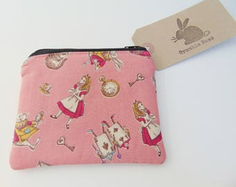 Handmade Coin Purse, Alice in Wonderland and Mad Hatter, Pink Padded Zip Purse