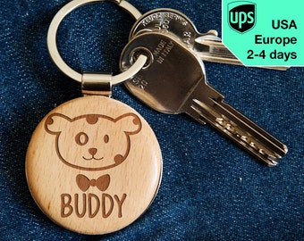 Dog - key chain, personalized laser engraved wooden key chain