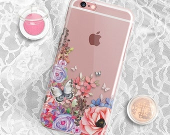 Floral iPhone 6S Plus case Clear iPhone 7 Plus case Floral iPhone 6 case Clear iPhone 6s case Clear iPhone 5S Case Golden iPhone 6 case