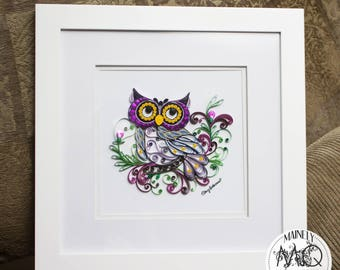 Whimsical Quilled Owl with Floral Wreathing