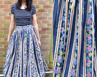 1950s skirt, 50s circle skirt, floral full skirt. Full length circle skirt. 50s maxi skirt, High waist vintage skirt True Vintage, 8 10