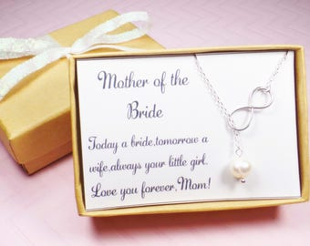 sterling silver infinity necklace,Mother of the bride gift,Mother of the groom necklace,mother of the groom gift,wedding gift