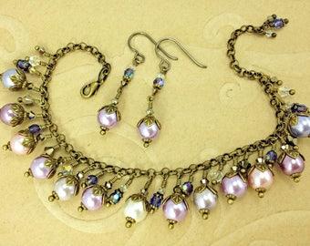 Victorian Easter Pastels Pearl Bracelet and Earrings Set