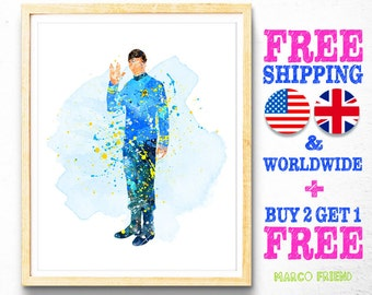 Star Trek Spock Watercolor Art Poster Print Wall Decor Watercolor Painting Home Decor Kids Decor Nursery Decor