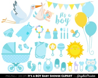 Baby Boy Clipart, Boy Baby Shower Clipart, BLue Baby Clipart, Instant  Download,