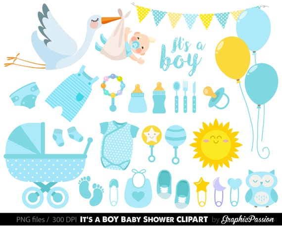 Baby Boy Clipart, Boy Baby Shower Clipart, BLue Baby Clipart, Instant  Download, Banners, Teddy Bear, Sock Monkey, Baby Shower Clipart From  GraphicPassion On ...