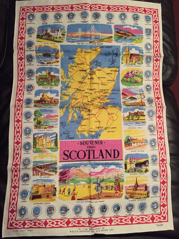Vintage tea towel showing souvenir from Scotland
