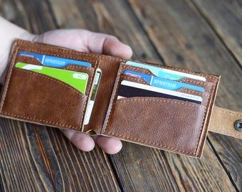 Leather wallet Slim leather wallet Handmade wallet Gift for him Soft leather wallet Men's wallet