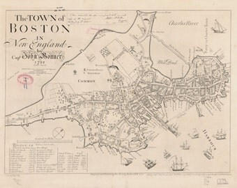 Boston Harbor Map - Historical Plan 1772