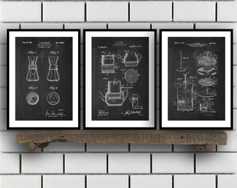 Coffee Related Patent Set of THREE, Coffee Invention Patent, Coffee Poster, Coffee Print, Coffee Patent, Coffee Inventions, SP174