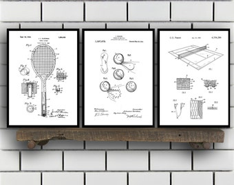 Tennis Patents Set of 3 Prints, Tennis Prints, Tennis Posters, Tennis Blueprints, Tennis Art, Tennis Wall Art, Sport Prints, Sport Art,Sp319
