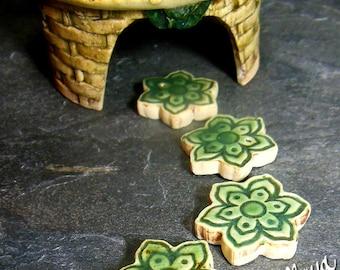 Fairy Garden Flowers |  Stepping Stones Set #81 | Set of 4 Green Lotus  Flowers