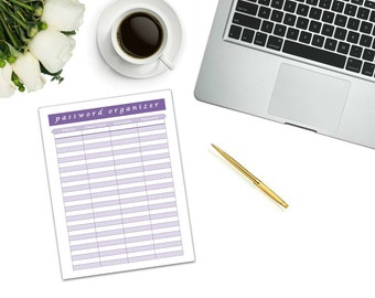 Password Log Printable | instant download | printable | password log | password organizer | password keeper | online password organizer