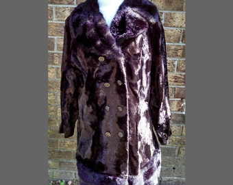 Vintage Women's Faux Fur Coat, Black Brown Collar and Trim, Chocolate Brown Knee Length Double Breasted Coat, Mid Century, Circa 1960s