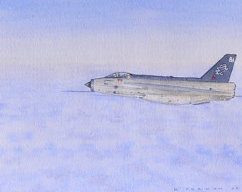 An orginal watercolour painting of one of the last English Electric Lighting fighters in RAF service about 1987. A great British jet fighter