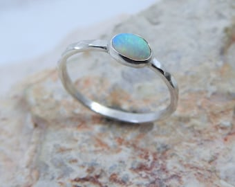 Natural Solid Australian Crystal Opal with Green Blue Colors Sterling Silver Ring.