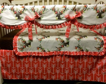 Floral Deer and Coral Arrows-Custom Baby Bedding- Baby Girl Bedding
