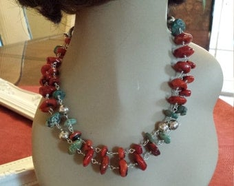 Long natural turquoise and coral necklace