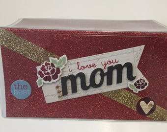I Love You MOM - Vinyl Checkbook cover,Scrapbook style,Duplicate or Single Checks, No wait Ready to Ship; One of a Kind