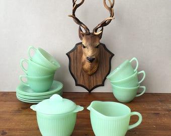 Vintage Fire King Jadeite Jane Ray Tea Set Cups & Saucers, Milk Jug, Sugar Bowl Mint Green Fire King Oven Ware Jadeite Anchor Hocking