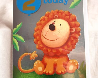2 Today Birthday Card with a Lion on