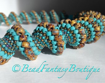 Statement Unique Handcrafted Beadwoven Peyote Cellini Spiral Turquoise Bronze Necklace- Free US Shipping