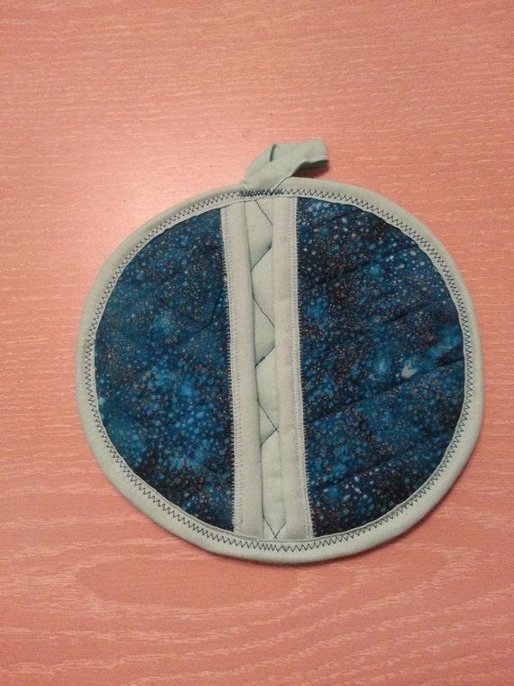 """Handmade """"Dark Turquoise w/ Gold Specks"""" Potholder/Trivet"""
