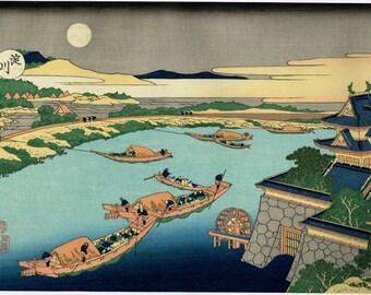 "Japanese Ukiyo-e Woodblock print, Katsushika Hokusai, ""Moonlight on the Yodo River, from the series Snow, Moon and Flowers"""