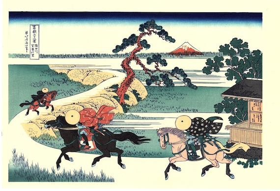 "Japanese Ukiyo-e Woodblock print, Katsushika Hokusai, ""Barrier Town on the Sumida River, Thirty-six Views of Mount Fuji"""