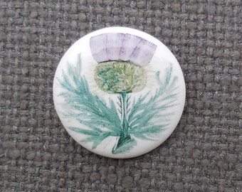 Gorgeous Vintage SCOTTISH Hand Painted THISTLE Ceramic BROOCH...Retro Celtic Nature Plant Jewellery...Scotland Flora!
