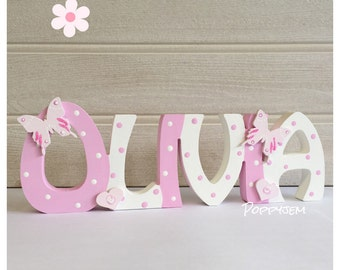 Spotty Dotty - Pastel pink and white personalised childrens wooden name plaque, free standing, names plaques