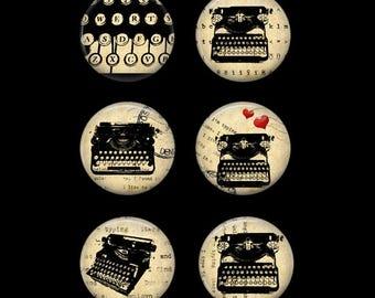 Typewriter Button Pins or Typewriter Magnets Gift for Writer Vintage Typewriter